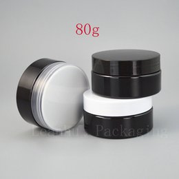 Wholesale Wholesale Beauty Cream Jars - Black Plastic Refillable Cream Jar,80g DIY Refillable Empty Homemade Beauty Personal Care Packaging Makeup Container,Wholesale
