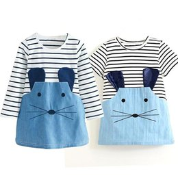 Wholesale Cotton Dresses Stitching Models - 2017 Autumn and Winter Girl Dress Models Long-sleeved Fight Girls Skirt Striped Denim Stitch Mickey Mouse Girl Dresses