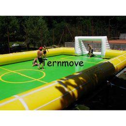 campo de fútbol Rebajas Arena inflable del fútbol de 12 * 6m, campo de fútbol inflable al aire libre, campo de fútbol inflable para el gimnasio, campo de fútbol inflable del deporte