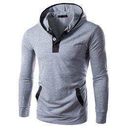 Wholesale Wholesale Men Hooded Fleece Jacket - Wholesale- 2017 Spring&Autumn Men's Fleece Pullover Hoodies Fashion Brand Hooded Jacket Men Casual Sweatshirt Men Sportswear Button Hoody