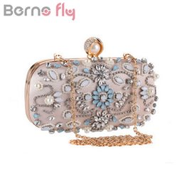 Wholesale Evening Party Elegant Purses - Berno fly Elegant Diamonds Evening Clutch Bag for Women Clutch Handbag Lady Wedding Purse Party Rhinestones Pearl Chain Bags
