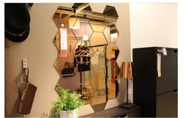 Wholesale Small Plastic Glasses - Hot - selling hexagonal mirror environmental protection acrylic wall stickers background wall decorated crystal three - dimensional mirror