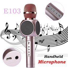 Wholesale Pc Songs - Magic Karaoke Microphone E103 Wireless Bluetooth Professional K Song Microphone Outdoor KTV Speaker For PC iOSAndroid PK Q7 bm88