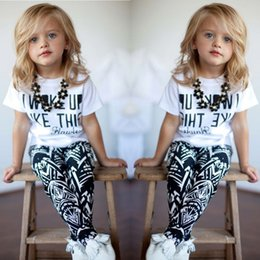Wholesale Stripe Shirt Girl Baby - 2017 Girls Clothes Baby Girls kids Stripe summer clothes set I Woke Up Like This Toddler shirt Pants 2Pcs suits children clothing sets