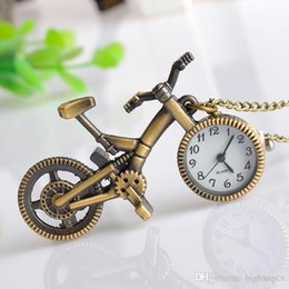 Wholesale Bicycle Necklace Watch - Retro Pocket Watch Mini Bronze Bike Bicycle Design Vintage Bicycle Pendant Necklace With Chain Jewelry Boy Girl Christmas Gift