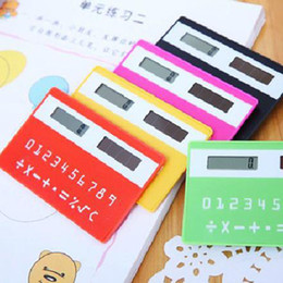 Wholesale Free Mini Calculator - Hot Best Mini Slim Credit Card Solar Power Pocket Calculator Novelty Small Travel Compact Free Shipping