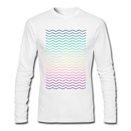 T-shirts à manches longues pour hommes de nouveau sens rond col mâle adapté confortable tops motif géométrique abstrait arc-en-ciel vagues multi couleur ? partir de fabricateur