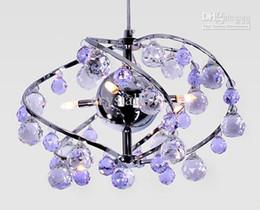 Araña de cristal púrpura comedor online-Nuevo Arte Minimalista Moderno Púrpura K9 Crystal Chandelier Dining Room Lámpara Colgante Dia 25cm