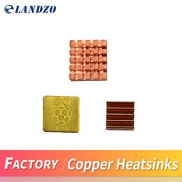 Wholesale Heat Sink Cooler - LANDZO 3pcs of Pure Copper Heatsinks 3 Pieces of Heat Sink Cooling Kit for PI3 PI 3B PI 2 PI 3