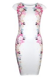 Wholesale Korean Slim Skirt - Summer new Korean version of the printed temperament Slim short sleeve skirt round neck women fashion printing package hip dress YYL010