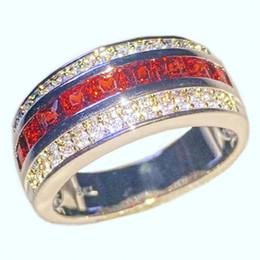 Wholesale Garnet Wedding Rings - Fashion 10KT White Gold filled Rings Square Diamond Simulated Zirconia Garnet Gemstone Engagement Anniversary Band Jewelry for Men Women