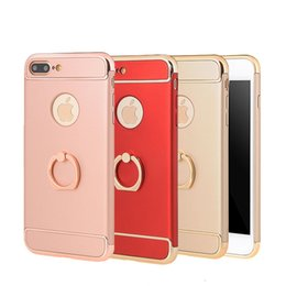Wholesale Iphone Back Housing Transparent - New 3in1 Phone Case For Apple iPhone 7   7 Plus Fashion Plating with Ring Buckle Matte Back Cover Coque Housing For iPhone7 Plus Capa