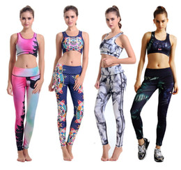 Wholesale Singlet Running - Yoga Sets Fitness Woman Tracksuit Tight Running Suit Tanks Shirts 12 styles Singlet Vest Camisole Gym Sports Tank Tops Digital Print 10070