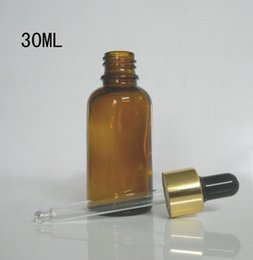 Wholesale Cosmetic Dropper Bottles - 30ml glass essentiall oil perfume bottles with electrochemical aluminum eyedropper cap High quality cosmetics bottles medicine bottle