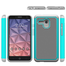 Wholesale Alcatel Mobiles Phones - 50pcs Hybrid 3 in 1 PC+TPU Rugged Cover Case for Alcatel XL Tough Slim Armor Football Pattern Case for Alcatel XL Mobile Phone Case
