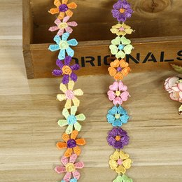 Wholesale Wholesale Embroidered Flower Appliques - 3cm 2.4cm cute children flower multicolor trims embroidered iron on patches DIY clothing shoes headwear accessories free shipping