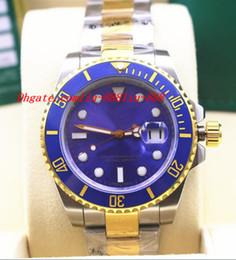 Relojes de buceo de alta calidad online-Relojes de lujo de alta calidad de cerámica 116613 de dos tonos oro acero azul reloj de buceo automático reloj de los hombres reloj reloj de pulsera de los hombres