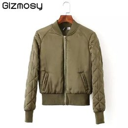 Wholesale Thin Quilted Jacket - Wholesale- Gizmosy! 2016 Women V-Neck Quilting Quilted Jacket Short Thin Padded Bomber basic Coat Pilots Outerwear Tops 4 Color BN066