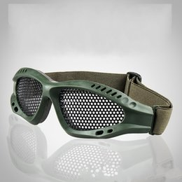 Wholesale Impact Lens - Protective Goggles Outdoor Game Safety Military Equipment Glasses No Degree Anti Fog Impact Goggle With Metal Mesh 3 Color Optional 10md F
