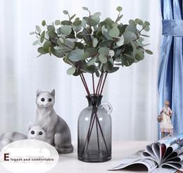 Plantas de mesa de escritório on-line-69 cm Arbustos Artificiais Falso Plantas Verdes Falso Silk Folhas Arbustos Escritório Em Casa Parede Mesa De Cozinha Vaso Flor Mista folhas Grandes