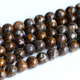 """Wholesale Gemstone Loose Beads Opal - Natural Genuine Bronze Brown Opal Round Loose Gemstone Stone Beads 4mm 6mm 8mm 10mm 12mm 15.5"""" 05219"""