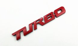 Wholesale Chrome Letter Decals - 3D TURBO word letter sport sticker auto car metal chrome logo emblem badge decals for Honda Acura RDX Fender Trunk Badge Red