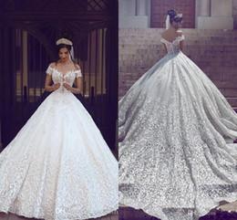 Wholesale Drop Shoulders - 2018 New Arabic Wedding Dresses A Line Cap Sleeves Off Shoulder Full Lace Appliques Open Back Chapel Train Plus Size Formal Bridal Gowns