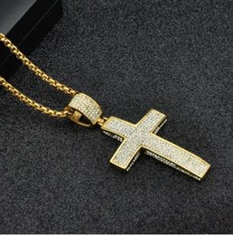 Wholesale titanium cross necklaces for men - Titanium Stainless Steel 5 Row Micro Pave Rhinestone Iced Out Bling Cross Pendants Necklaces for Men Jewelry