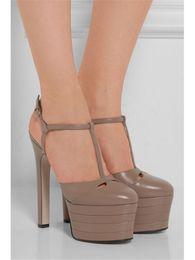 Wholesale Chunky Heel Platform Pump Design - New Design Rivets Studded Multi Color Slingbacks Platform Sandals Pointed Toe T-Strap High Heels Pumps Runway Shoes Woman