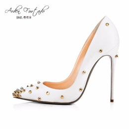 Wholesale party shoes for ladies - Arden Furtado autumn new extreme high heels shoes for woman 12cm party shoes thin heels slip-on ladies pumps with studs rivets