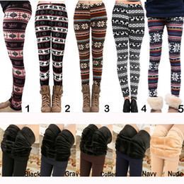 Wholesale Women Yellow Pants - Hot Fall Winter Christma Leggings Women Fur Thick Warm Fleece Snowflake Deer Printed Lady's Black Tights Pencil Bodycon Pants 12 Colors M139