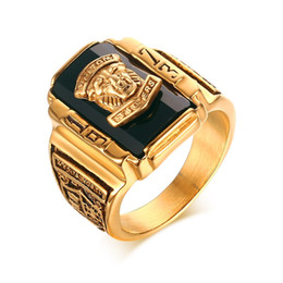 Wholesale Rock Bands Jewelry - Men's Rock Punk Ring Gold Plated Large Black CZ Stone Ring Men Jewelry Cool Lion Head School Party Rings