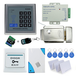 Wholesale Power Access Systems - Wholesale- Free Shipping Complete RFID Electric Lock Access Control System Kit Set with Keypad+Electric Lock+Power+Exit+Remote+Door bell