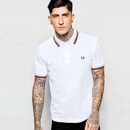Wholesale Purple Golf Shirts Men - London Brit Men Brand Polo Shirt Male Collar Slim Solid Polos England Men Cotton Top Camisa Tennis golf Polos White Black