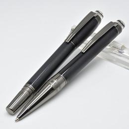 Brosses d'écriture en Ligne-Stylo à bille en résine gris et noir avec surfaces brossées et accessoires revêtus PVD Le cadeau des stylos à bille MB