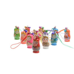 keys russian Coupons - Wholesale- HOT Hand Painted Wooden Toys Russian Doll Matryoshka Charm Pendant Mobile Phone Nesting Dolls Key chain Girl Doll Kids Gift