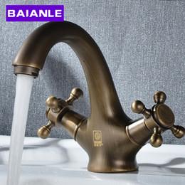 Wholesale Golden Bathroom Accessories - Golden Brass Double handle Bathroom Basin Faucet,Hot And Cold Water Sink Faucet Bath Accessories