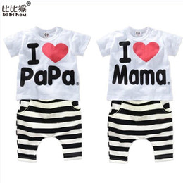 Wholesale Suit Pajamas Girl - Wholesale- 2016 New Summer Children Baby Clothing Sets Kids I love papa mama Clothes Suit Boys Girls T shirt Striped Pants Pajamas Sets