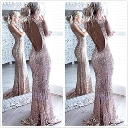 Wholesale Design Party Dress For Woman - 2017 New Design Sequins Mermaid Prom Dresses Bateau Neck Sexy Backless Evening Party Gowns Custom Cheap Dresses For Women