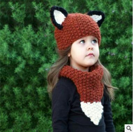 Wholesale Baby Knitting Designs - Fox Baby Caps Scarf Sets Knitted Animal Fox Design Autumn Winter Toddler Infant Thick Knitted Baby Bunny Beanie Cap Photo Props 979