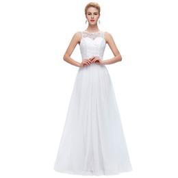 Wholesale Grace Karin Tulle Dress - Grace Karin Lace Long Prom Dresses White Black Mint Green Prom Dress 2017 Sleeveless Floor Length Elegant Wedding Formal Dress