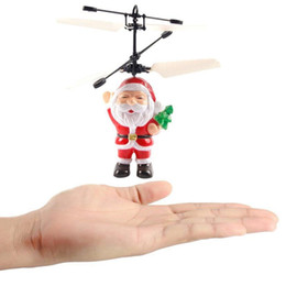 Wholesale Big Red Electric - Electric Infrared Sensor Flying Santa Claus Induction aircraft Toys RC Helicopter Drone Toy Kids Christmas Gifts 50PCS