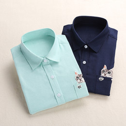 Wholesale Wholesale Sleeveless Long Blouse - Wholesale- Dioufond Women Spring Shirt Turn-Down Collar Ladies Blouses Long-Sleeve Shirt Female Office Tops Pocket With Cat Embroidery
