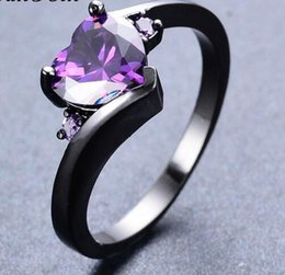 Wholesale Wedding Gold Rings For Ladies - Elegant Purple Zircon Stone Rings For Women Lady Black Gold Filled Wedding Party Engagement Small Heart Ring Bijoux