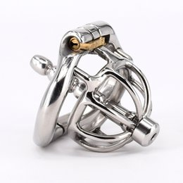 """Wholesale Catheter Dilator - Cock Cage With Urethral Catheter Dilator Stainless Steel Super Small Male Chastity Devices 1"""" Short Penis Lock Cock Ring Penis Plug Sex Toys"""