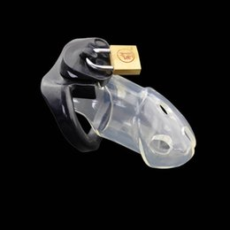 Wholesale Chastity Belts Plastic - Transparent three Rings Penis Cage sex toys for men, PU Plastic Cock Cage sex product , Male Chastity Belt Chastity Device