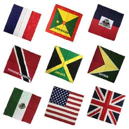 Wholesale England Flag Prints - 55x55cm UK England Flag Bandanna 100% Cotton Double Sided Print Bandana Handkerchief Head Wrap new design colorfast IC645