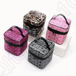 Wholesale Wholesale Women Bag Europe - PINK Letter Cosmetic Bag Zipper Light Women Makeup Bag Ladies Summer Portable Storage Bag 4 colors OOA975