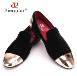 Wholesale Metal Cap Shoes - New style front and back metal cap men velvet shoes Fashion Pointed Toe Men Loafers wedding and party noble slip on men's flat,size38-47