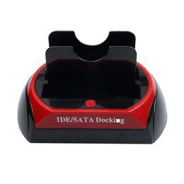 "Wholesale Plastic Parts Storage Box - Wholesale- New 3.5"" 2.5"" SATA IDE 2 Double USB 2.0 Dock HDD Docking Station External HDD Box Hard Disk Storage Enclosure Parts EU US plug"